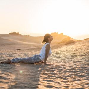 yoga sandra dunes blue mind morocco